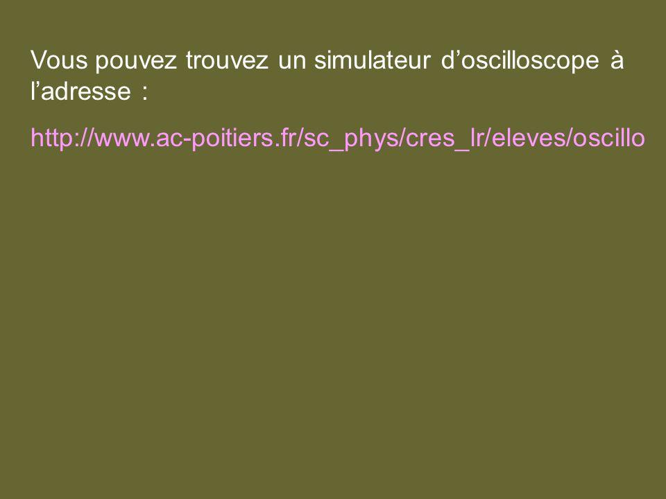 Vous pouvez trouvez un simulateur d'oscilloscope à l'adresse :