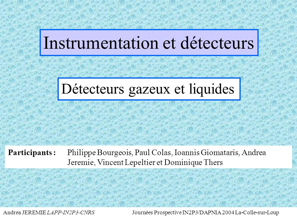 Instrumentation et détecteurs