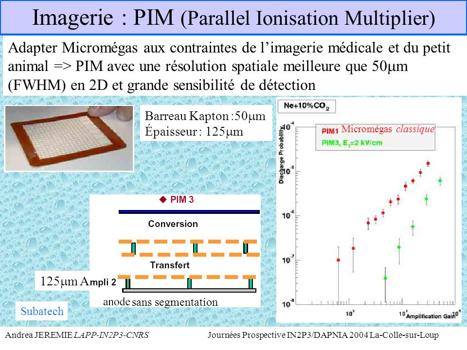 Imagerie : PIM (Parallel Ionisation Multiplier)