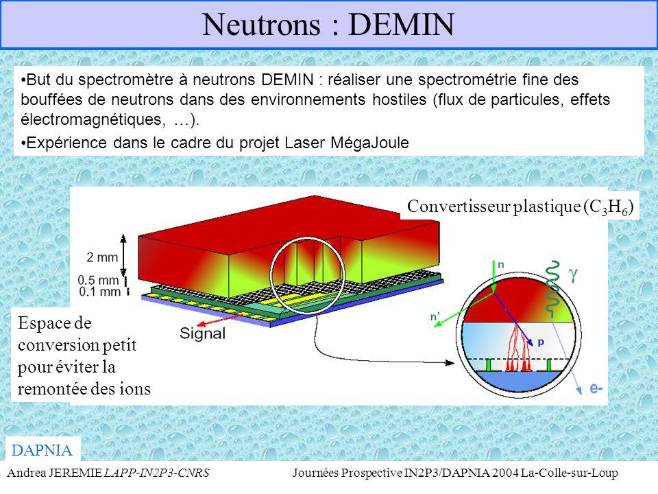 Neutrons : DEMIN Convertisseur plastique (C3H6)