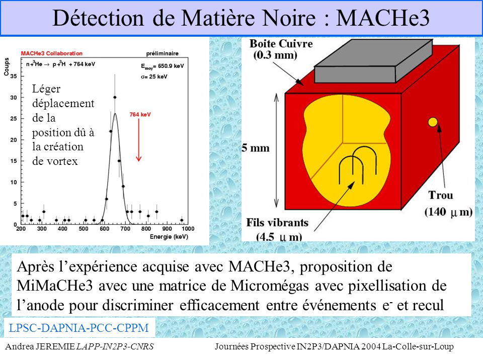 Détection de Matière Noire : MACHe3