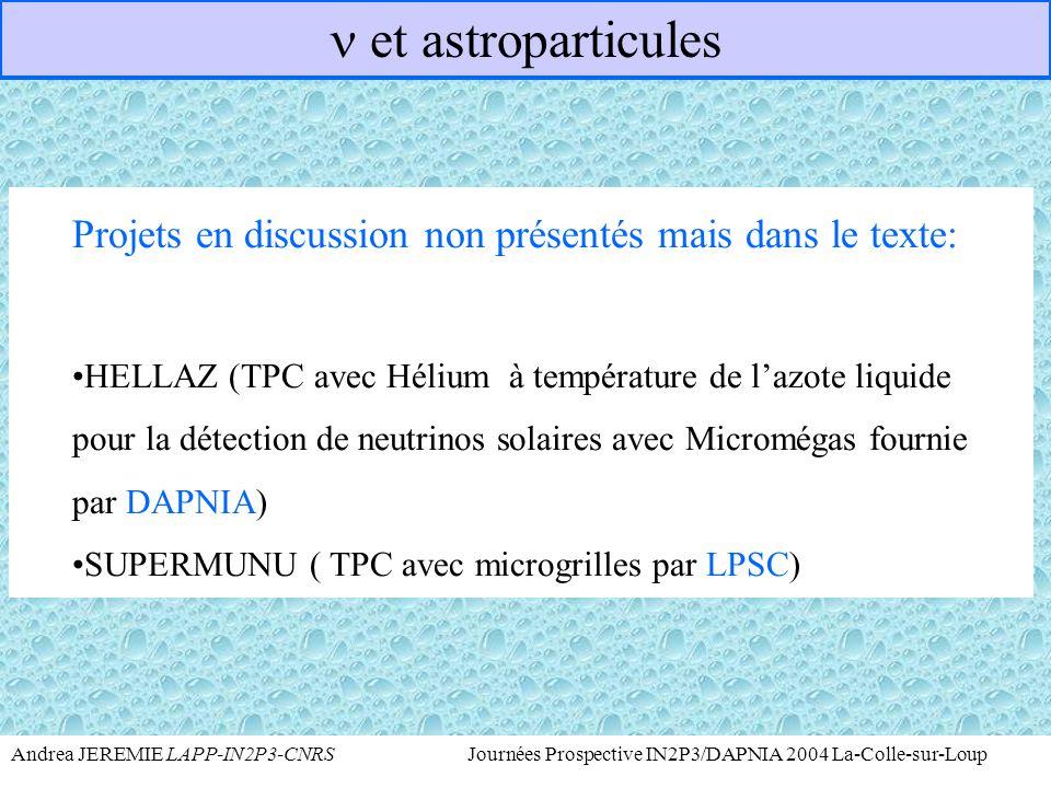 n et astroparticules Projets en discussion non présentés mais dans le texte:
