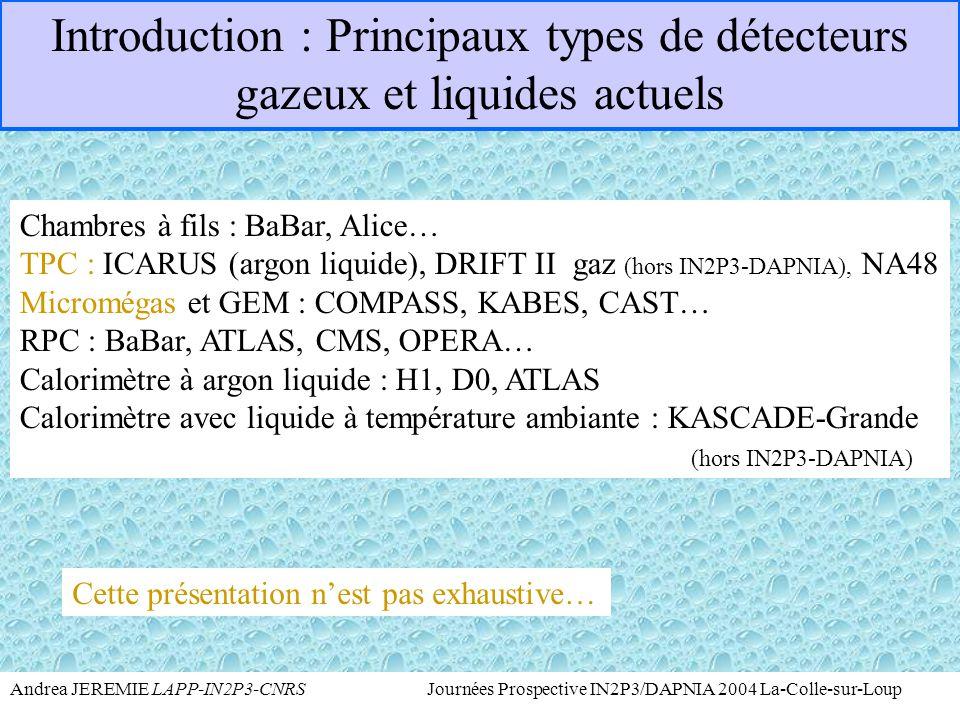 Introduction : Principaux types de détecteurs gazeux et liquides actuels