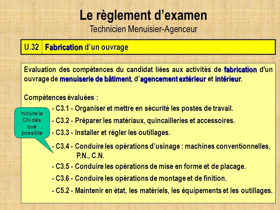 Le règlement d'examen Technicien Menuisier-Agenceur U.32