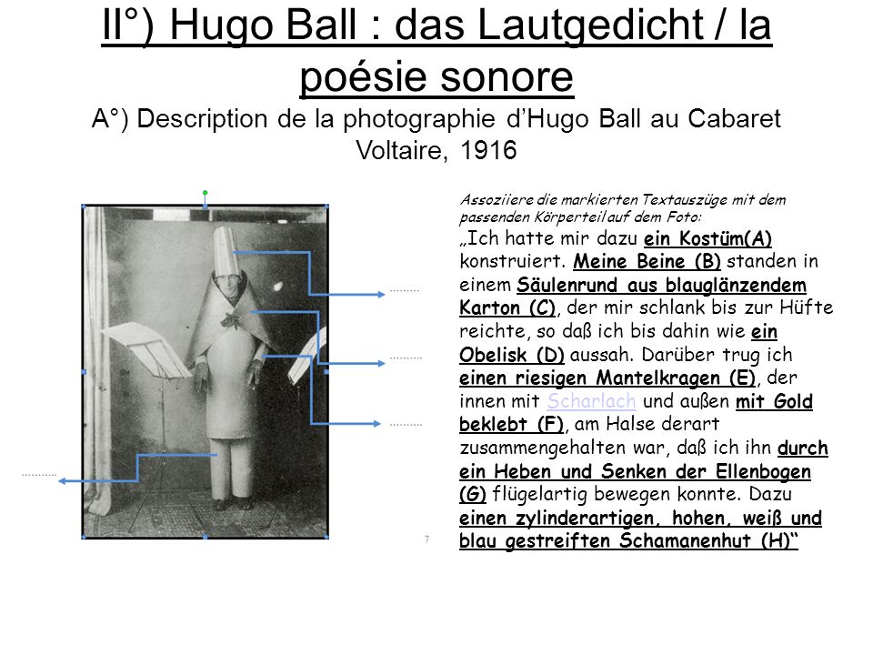 II°) Hugo Ball : das Lautgedicht / la poésie sonore A°) Description de la photographie d'Hugo Ball au Cabaret Voltaire, 1916