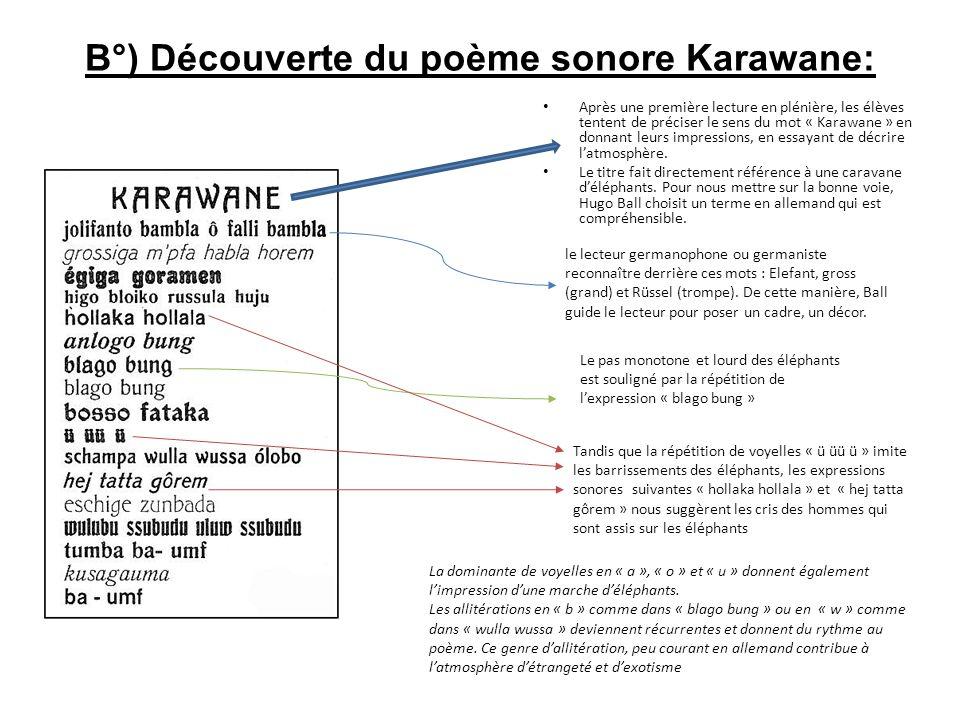 B°) Découverte du poème sonore Karawane: