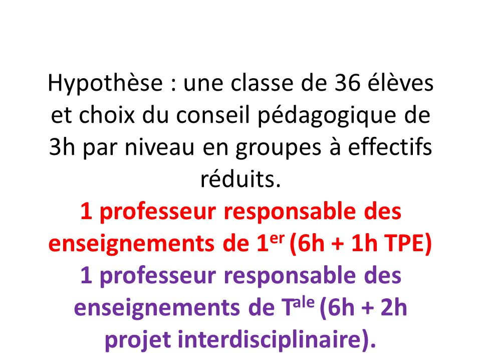 Hypothèse : une classe de 36 élèves et choix du conseil pédagogique de 3h par niveau en groupes à effectifs réduits.