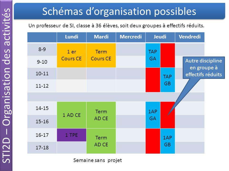 STI2D – Organisation des activités Schémas d'organisation possibles