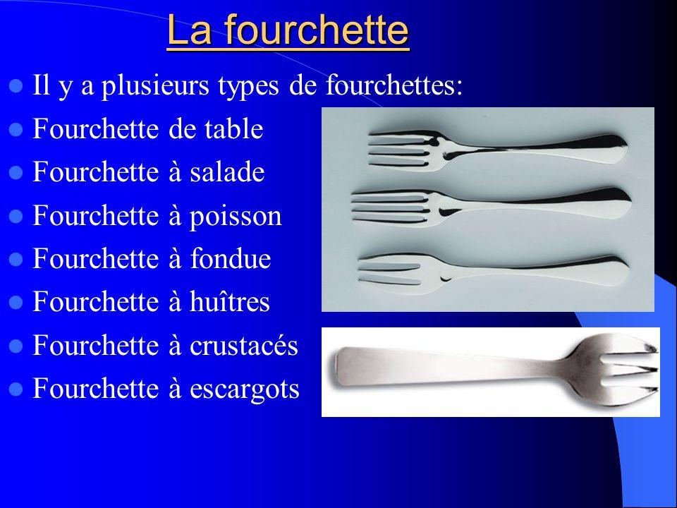 La fourchette Il y a plusieurs types de fourchettes: