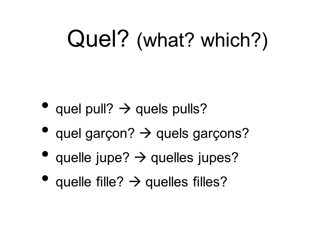 Quel (what which ) quel pull  quels pulls