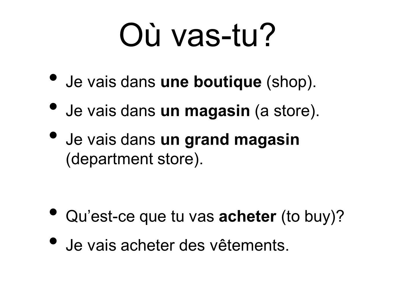 Où vas-tu Je vais dans une boutique (shop).