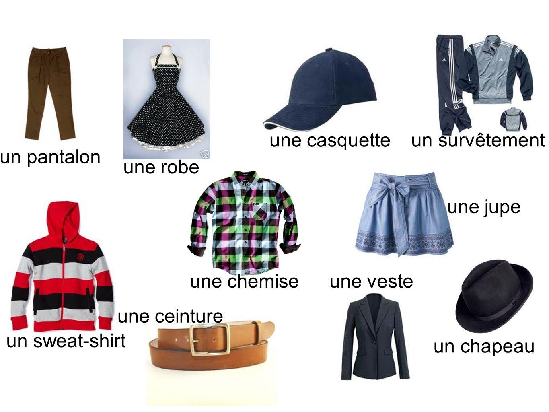 une casquette un survêtement. un pantalon. une robe. une jupe. une chemise. une veste. une ceinture.