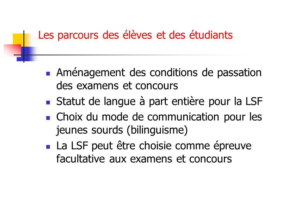 Les parcours des élèves et des étudiants