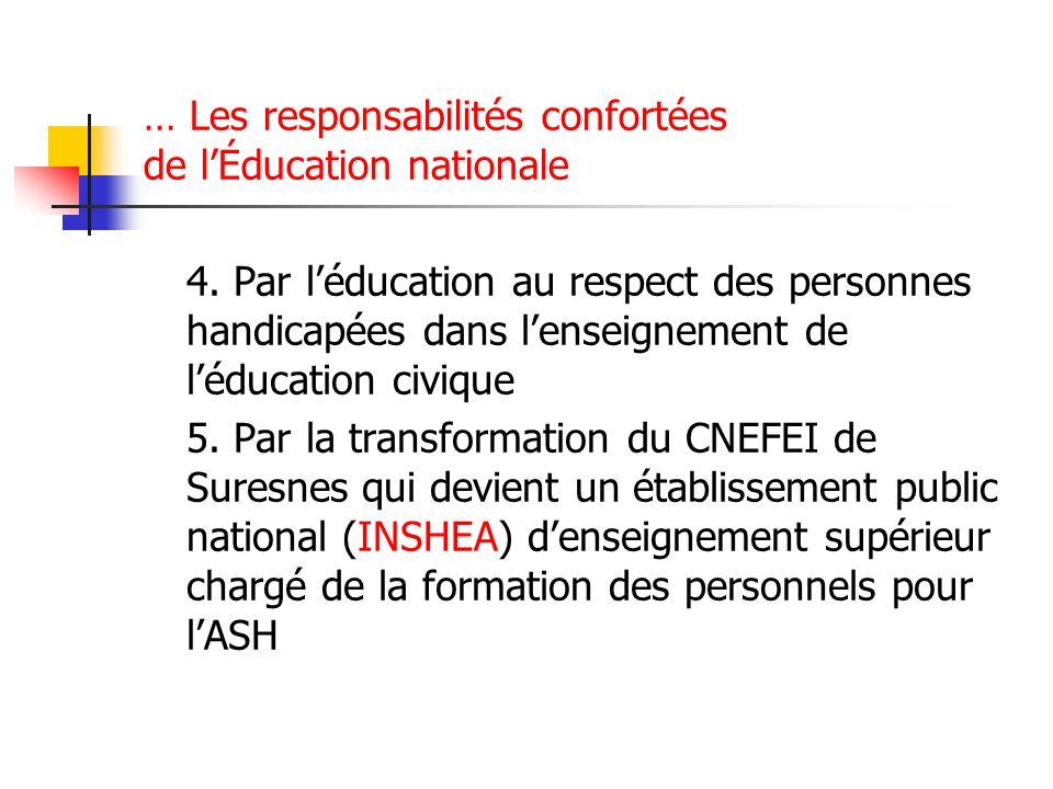 … Les responsabilités confortées de l'Éducation nationale