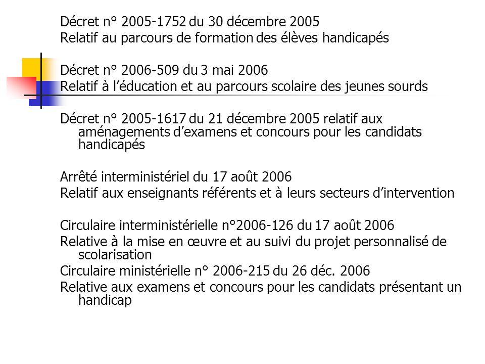 Décret n° 2005-1752 du 30 décembre 2005 Relatif au parcours de formation des élèves handicapés. Décret n° 2006-509 du 3 mai 2006.