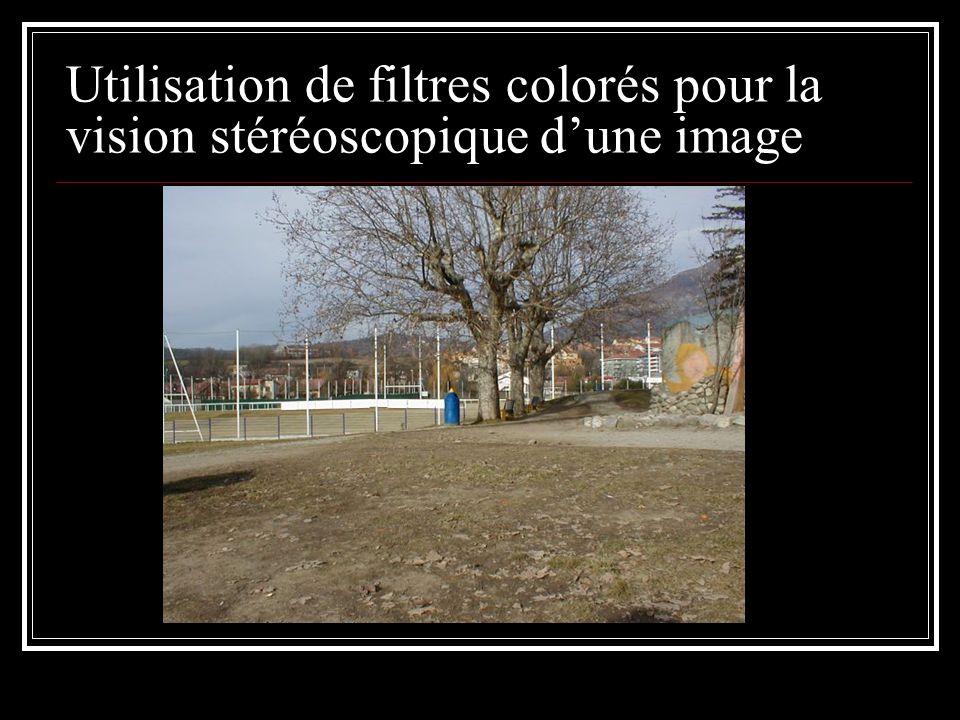 Utilisation de filtres colorés pour la vision stéréoscopique d'une image