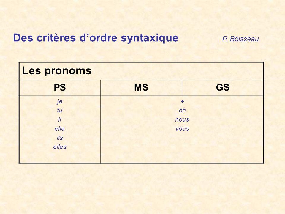 Des critères d'ordre syntaxique P. Boisseau Les pronoms