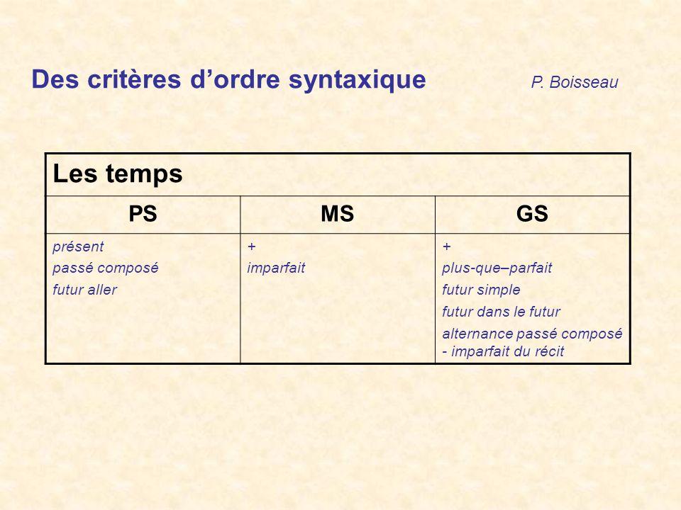 Des critères d'ordre syntaxique P. Boisseau Les temps