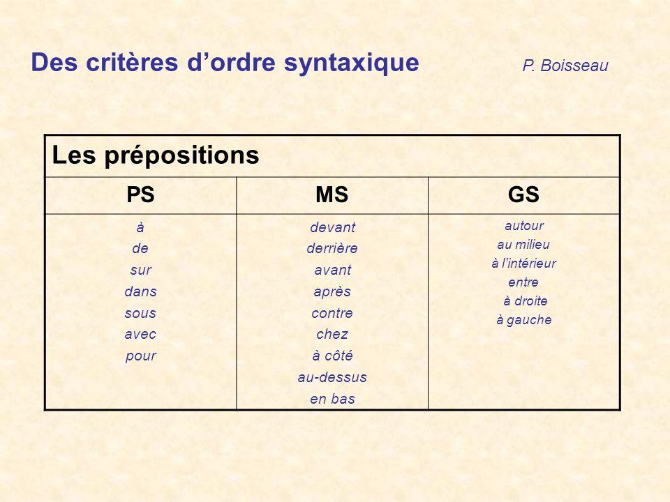 Des critères d'ordre syntaxique P. Boisseau Les prépositions