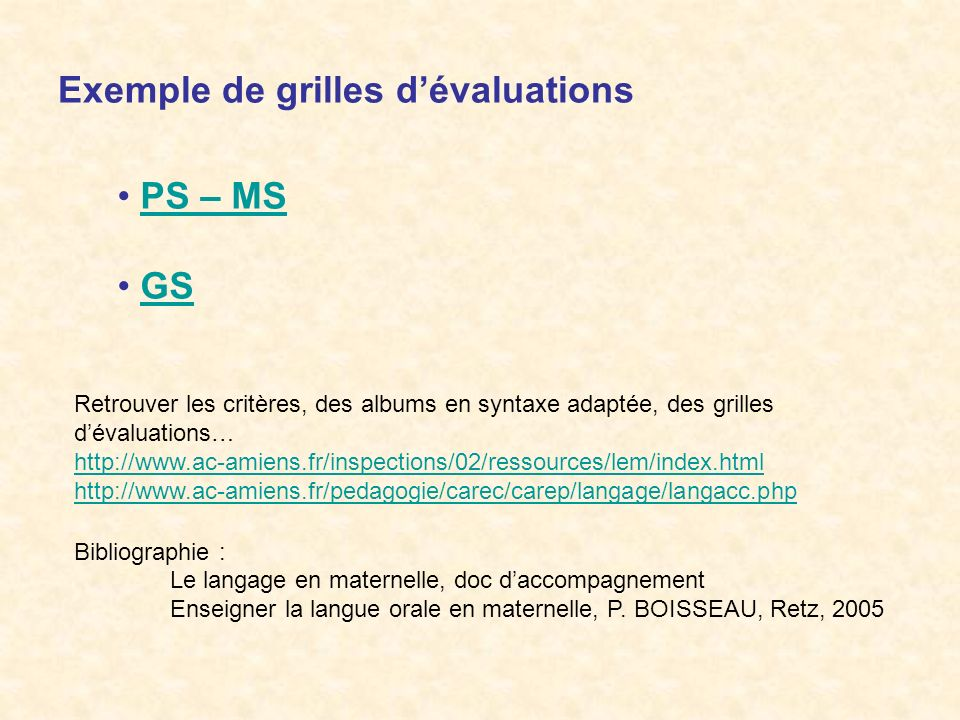 Exemple de grilles d'évaluations