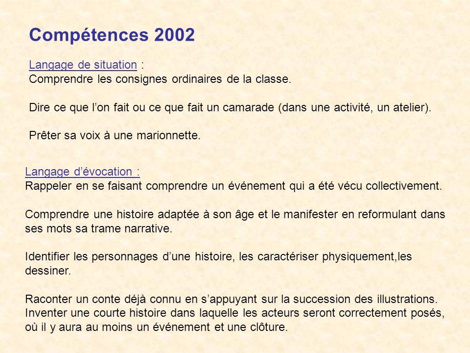 Compétences 2002 Langage de situation :
