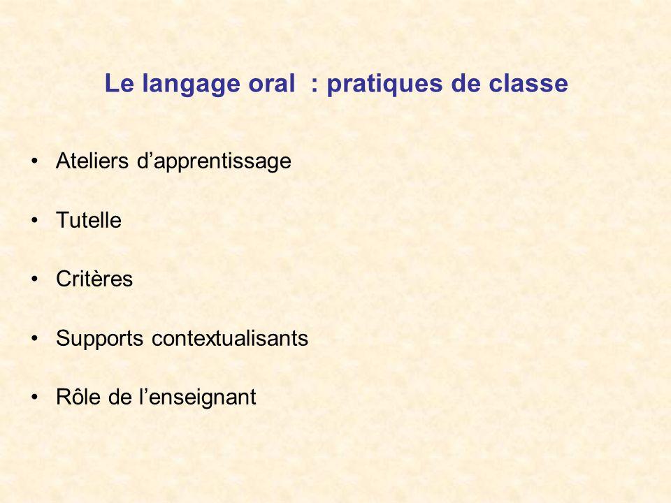 Le langage oral : pratiques de classe