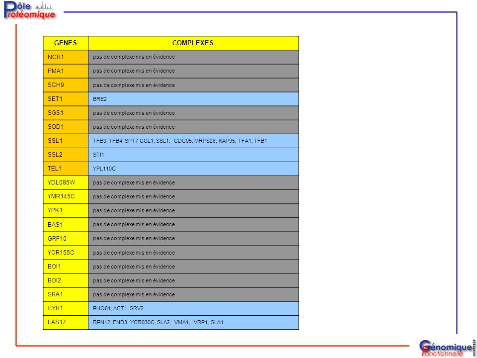 GENES COMPLEXES NCR1 PMA1 SCH9 SET1 SGS1 SOD1 SSL1 SSL2 TEL1 YDL085W