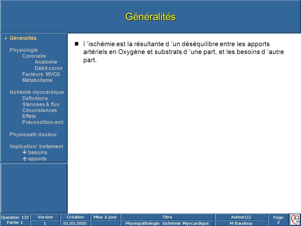 Généralités Généralités. Physiologie. Coronaire. Anatomie. Débit coron. Facteurs MVO2. Métabolisme.