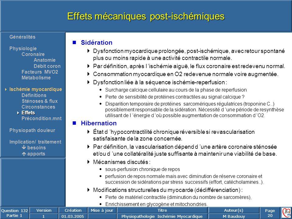 Effets mécaniques post-ischémiques
