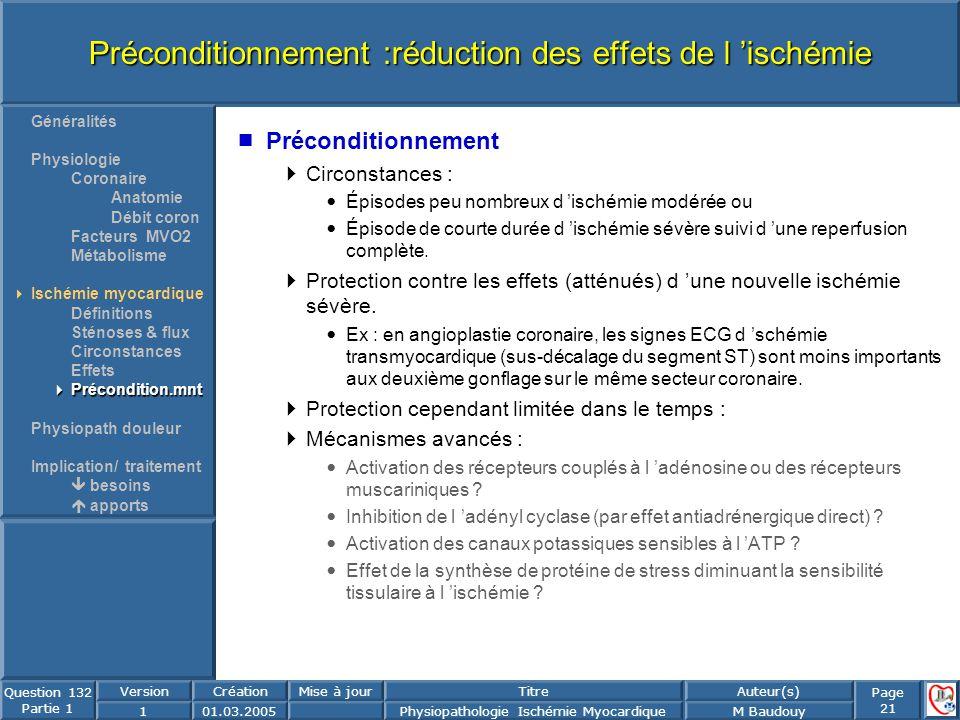 Préconditionnement :réduction des effets de l 'ischémie