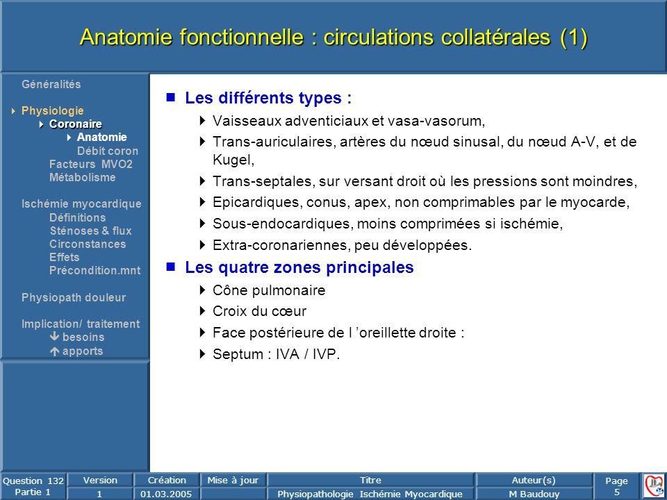 Anatomie fonctionnelle : circulations collatérales (1)