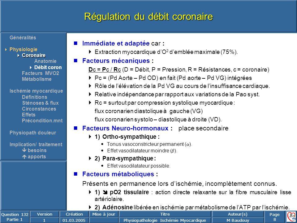 Régulation du débit coronaire