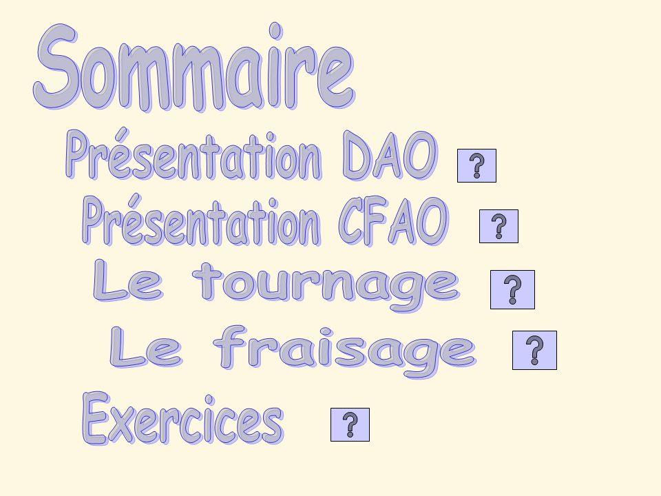 Présentation DAO Présentation CFAO Le tournage Le fraisage Exercices