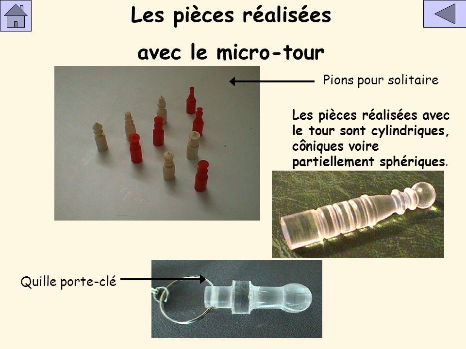 Les pièces réalisées avec le micro-tour