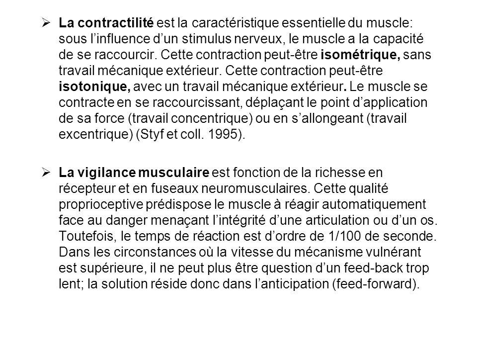 La contractilité est la caractéristique essentielle du muscle: sous l'influence d'un stimulus nerveux, le muscle a la capacité de se raccourcir. Cette contraction peut-être isométrique, sans travail mécanique extérieur. Cette contraction peut-être isotonique, avec un travail mécanique extérieur. Le muscle se contracte en se raccourcissant, déplaçant le point d'application de sa force (travail concentrique) ou en s'allongeant (travail excentrique) (Styf et coll. 1995).