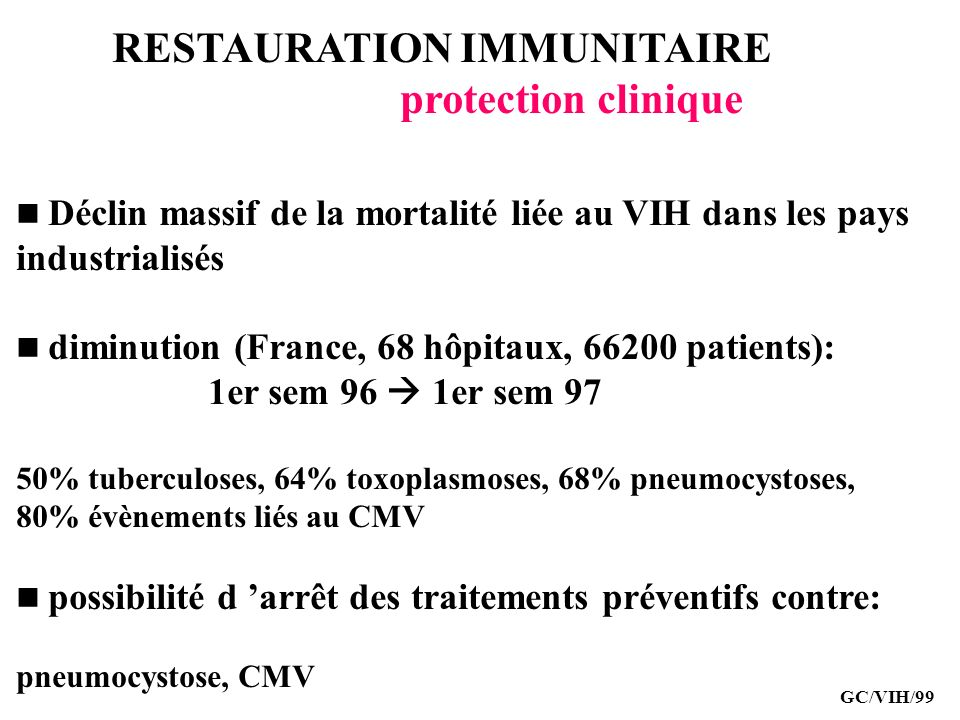 RESTAURATION IMMUNITAIRE protection clinique