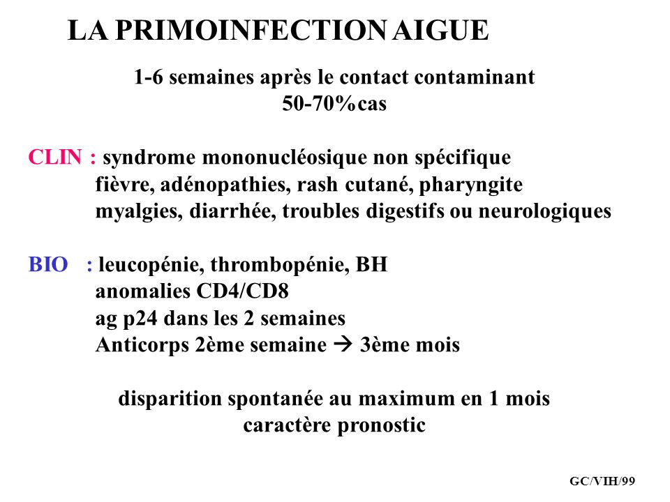 LA PRIMOINFECTION AIGUE