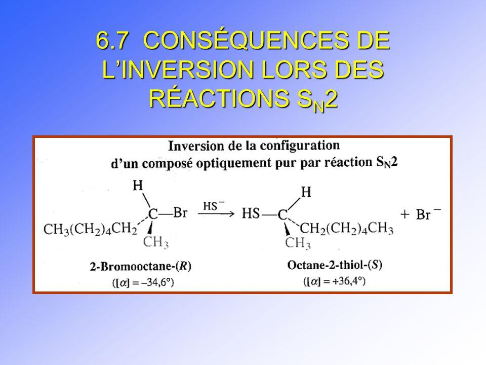 6.7 CONSÉQUENCES DE L'INVERSION LORS DES RÉACTIONS SN2