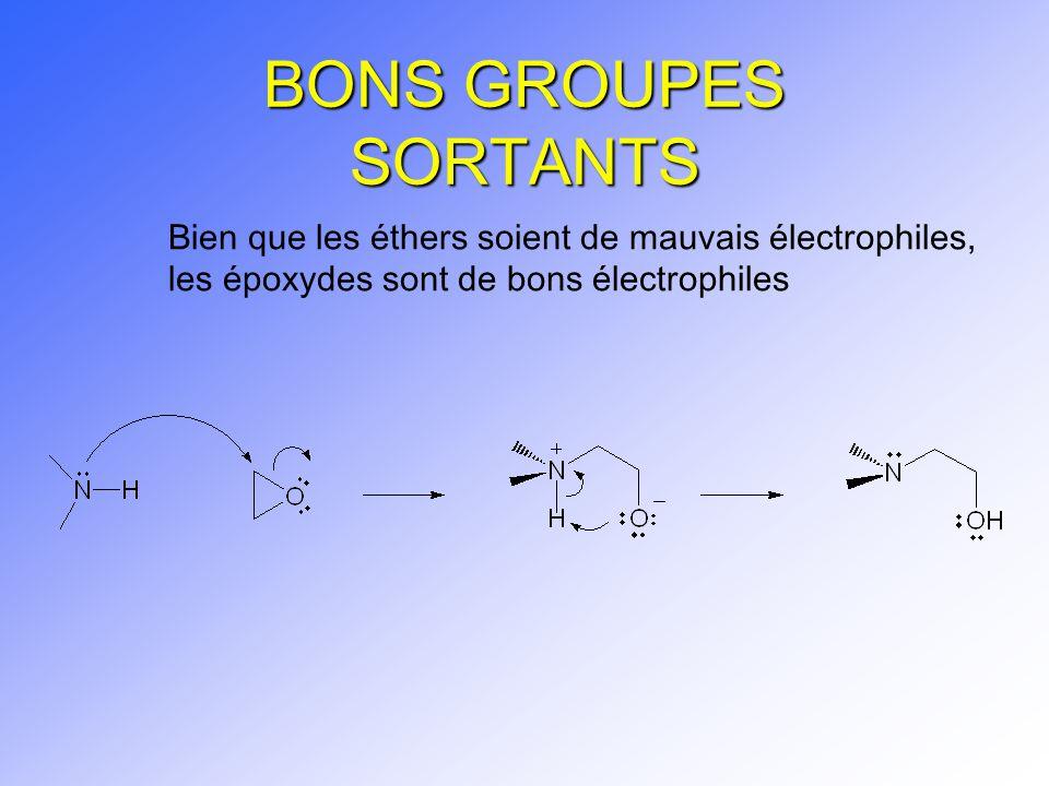 BONS GROUPES SORTANTS Bien que les éthers soient de mauvais électrophiles, les époxydes sont de bons électrophiles.