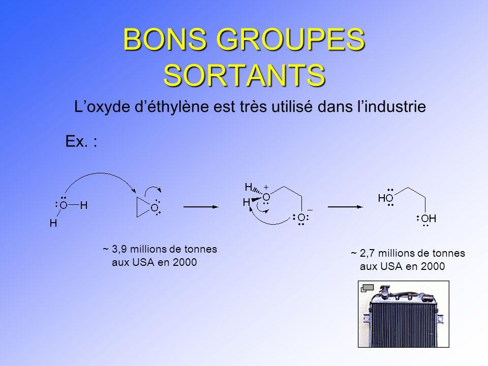 BONS GROUPES SORTANTS L'oxyde d'éthylène est très utilisé dans l'industrie. Ex. : ~ 3,9 millions de tonnes.