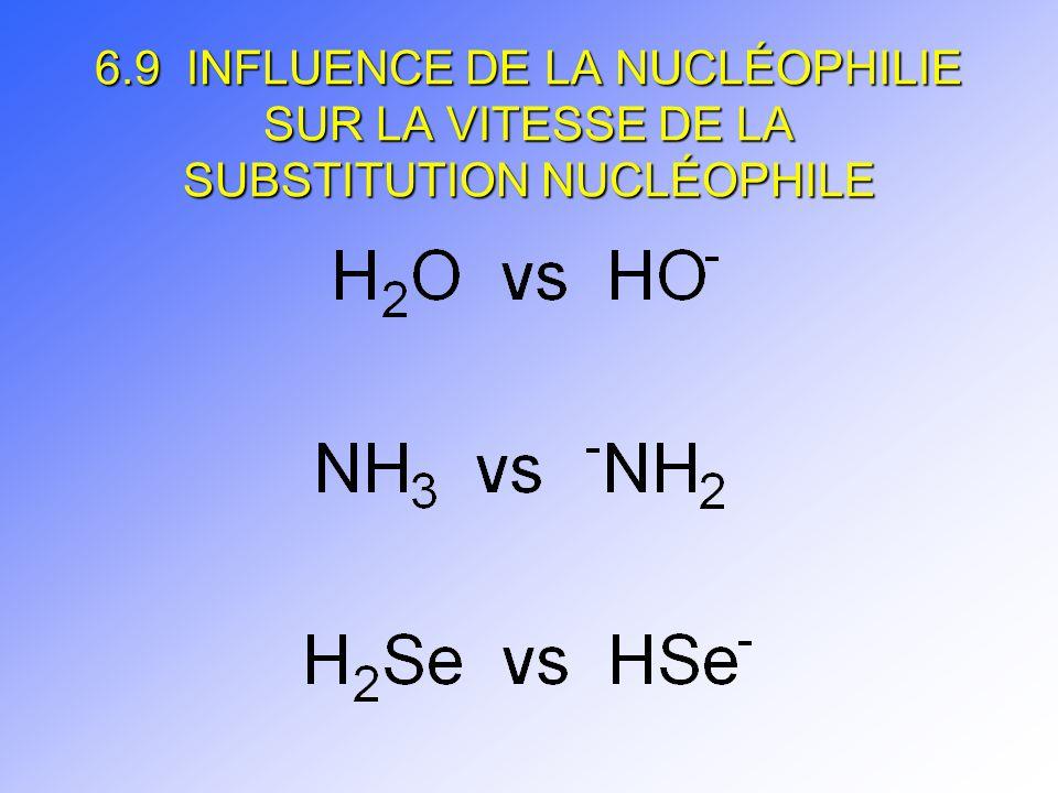 6.9 INFLUENCE DE LA NUCLÉOPHILIE SUR LA VITESSE DE LA SUBSTITUTION NUCLÉOPHILE