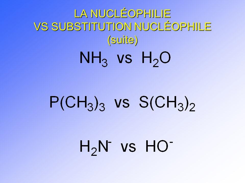 LA NUCLÉOPHILIE VS SUBSTITUTION NUCLÉOPHILE (suite)