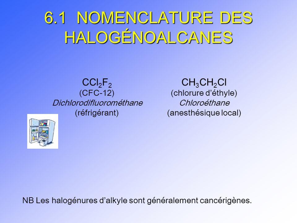 6.1 NOMENCLATURE DES HALOGÉNOALCANES