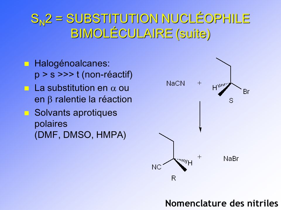 SN2 = SUBSTITUTION NUCLÉOPHILE BIMOLÉCULAIRE (suite)