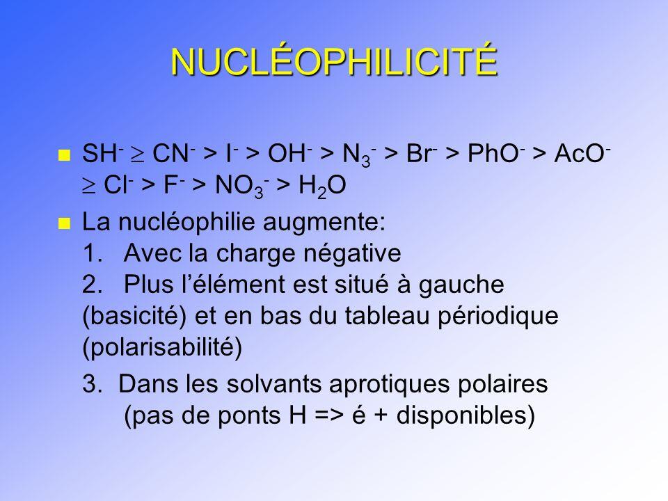 NUCLÉOPHILICITÉ SH-  CN- > I- > OH- > N3- > Br- > PhO- > AcO-  Cl- > F- > NO3- > H2O.
