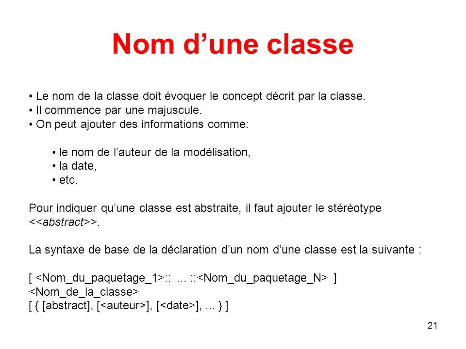 Nom d'une classe Le nom de la classe doit évoquer le concept décrit par la classe. Il commence par une majuscule.