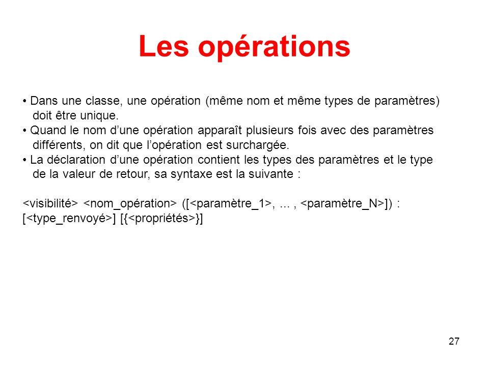 Les opérations Dans une classe, une opération (même nom et même types de paramètres) doit être unique.