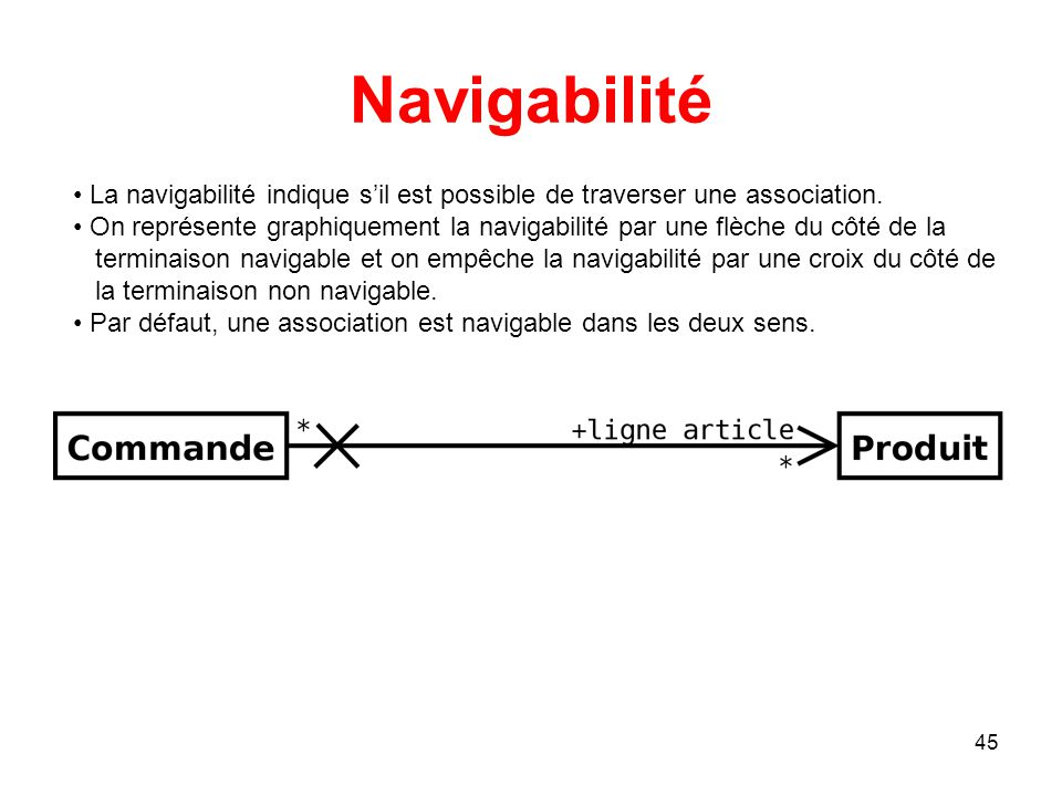 Navigabilité La navigabilité indique s'il est possible de traverser une association.