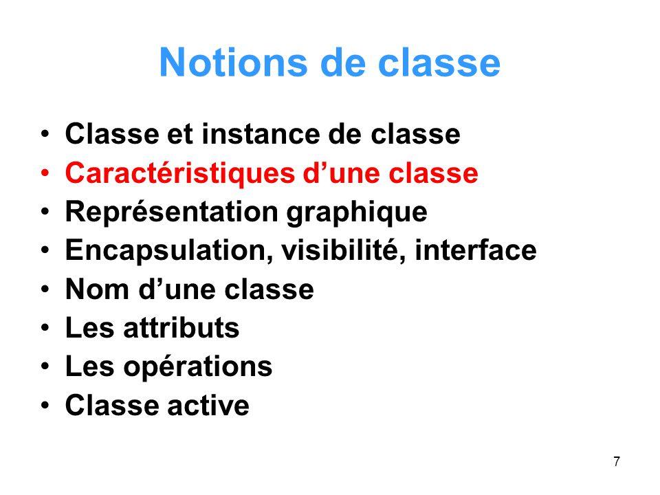 Notions de classe Classe et instance de classe