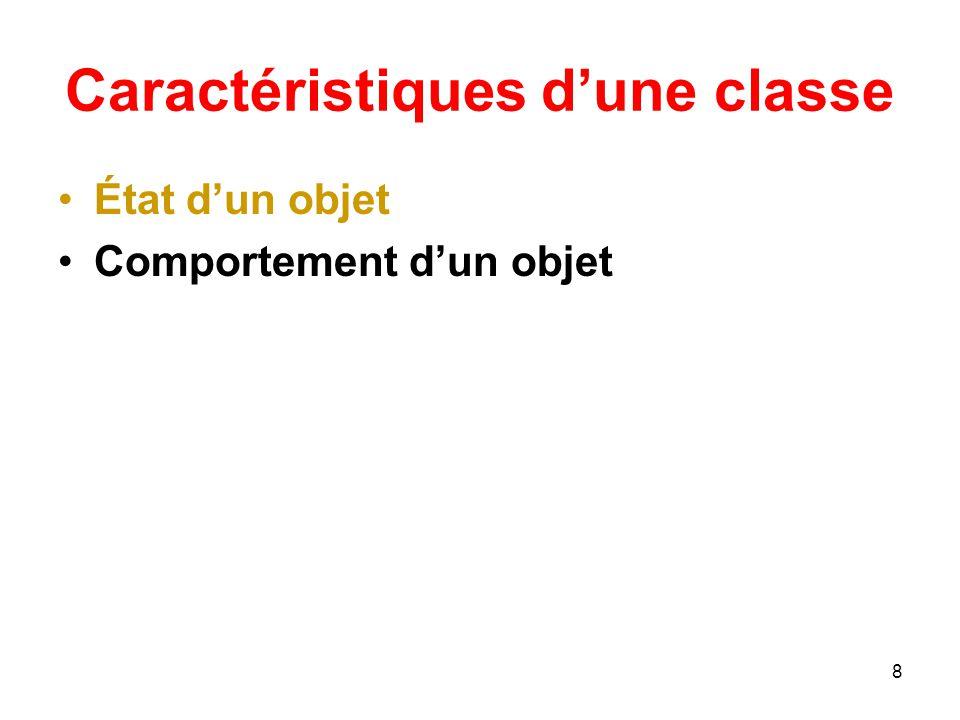 Caractéristiques d'une classe